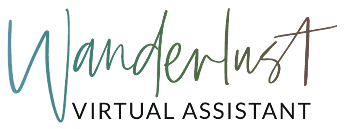Wanderlust Virtual Assistant VA Caty Kidd WVA Logo Rainbow Gradient